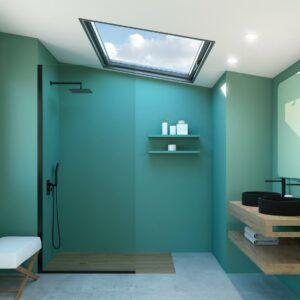 Plato de ducha resina Akasha Génova efecto madera baño completo