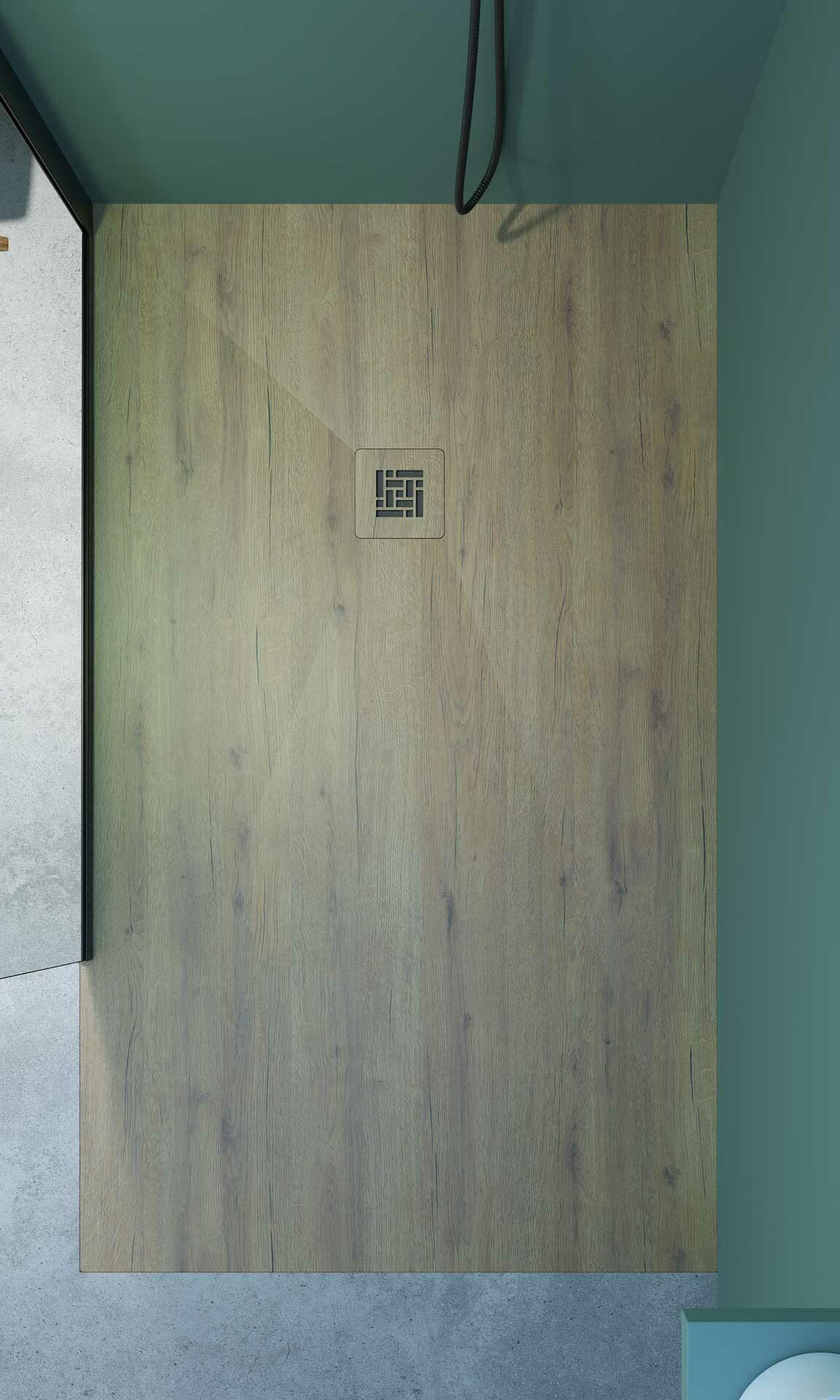 Plato de ducha resina Akasha Génova efecto madera
