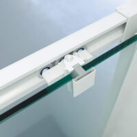 Mampara de ducha 1 fijo + puerta corredera – perfilería blanca 195cm altura – 3