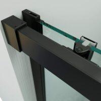 Mampara de ducha 1 fijo + puerta corredera – perfilería negra 195cm altura – 1