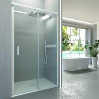 Mampara de ducha frontal sin perfil inferior 1 fijo + 1 puerta perfilería blanca