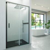 Mampara de ducha frontal sin perfil inferior 1 fijo + 1 puerta perfilería negra