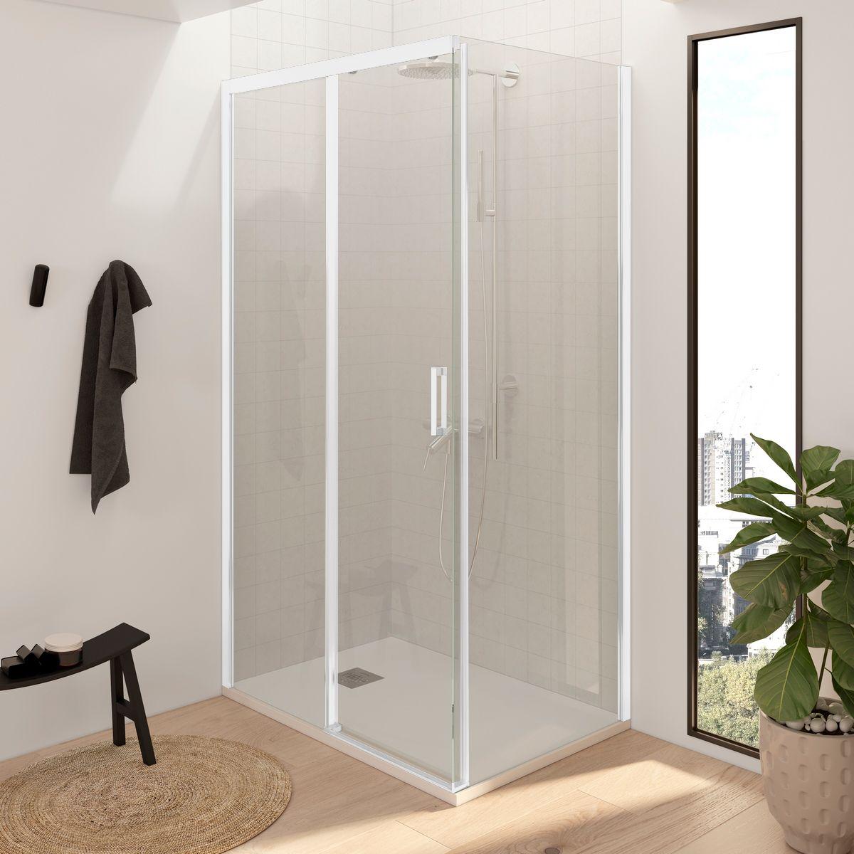 Mampara de ducha rectangular - 1 fijo + puerta corredera + 1 fijo sin perfilería inferior perfilería blanca
