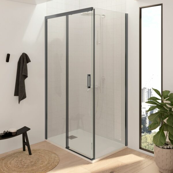 Mampara de ducha rectangular - 1 fijo + puerta corredera + 1 fijo sin perfilería inferior perfilería negra