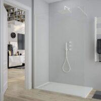 Mampara fijo de ducha – 8 mm perfilería blanca completo