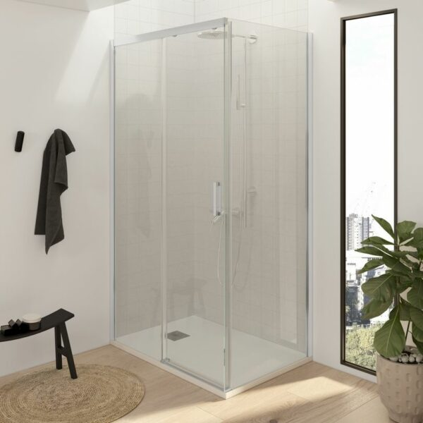 Mampara de ducha rectangular - 1 fijo + 1 puerta + 1 fijo